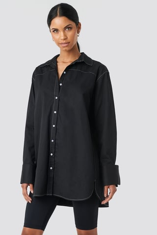 Black Oversized Long Contrast Shirt