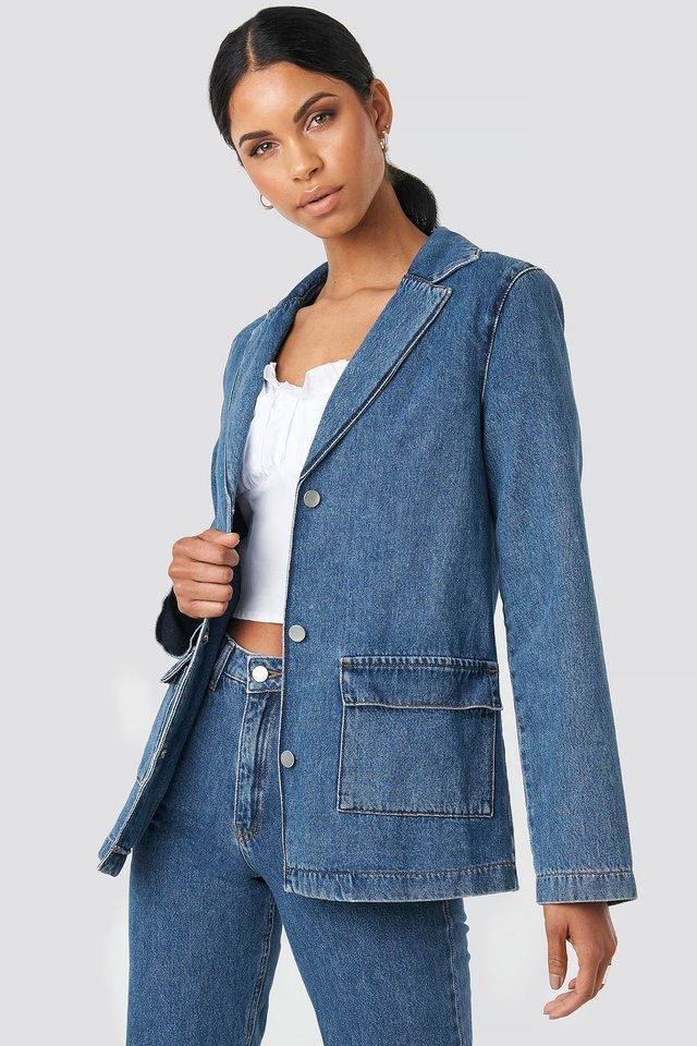 Straight Fit Denim Blazer Mid Blue