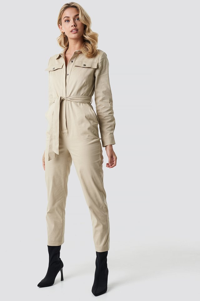 Tied Waist Belted Jumpsuit Brown