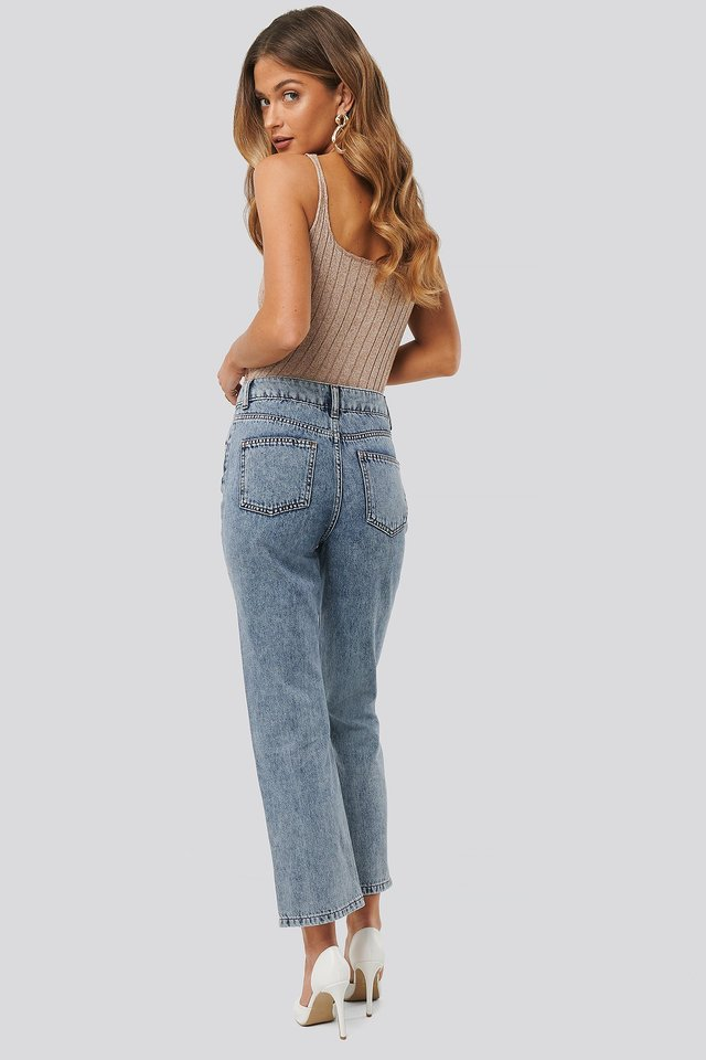 Blue Wash High Waist Straight Jeans