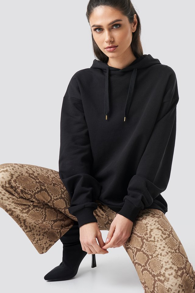 Straight Shape Oversized Hoodie Black