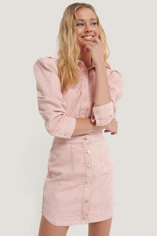 Pink Denimkjol Med Knappar Fram