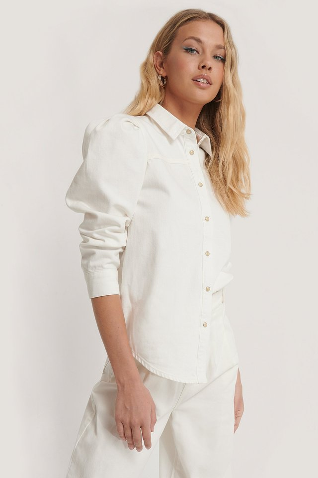 Puff Sleeve Denim Blouse Off White