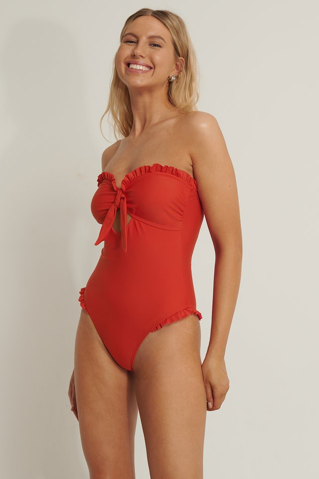 Frill Detail Swim Suit Red