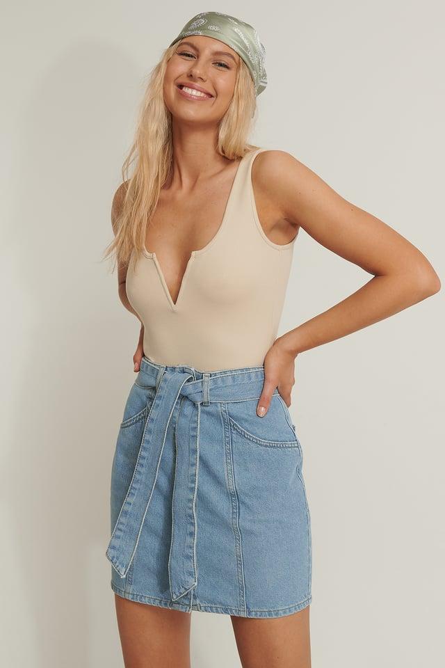 Blue Tied Denim Skirt