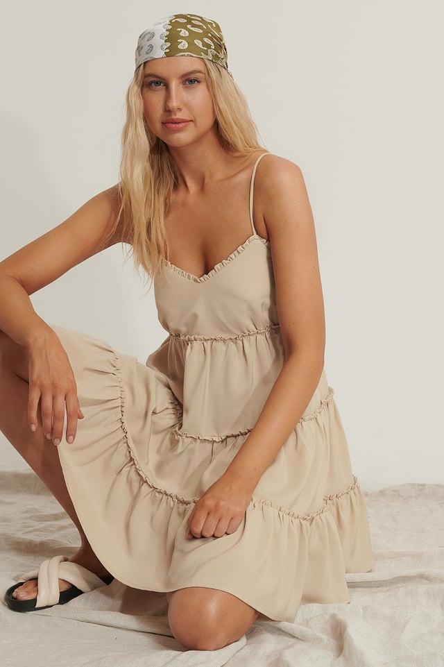 Volume Mini Dress Beige