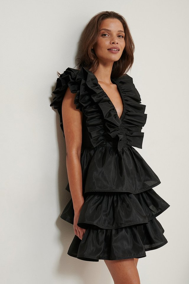 Black Volume Ruffle Dress