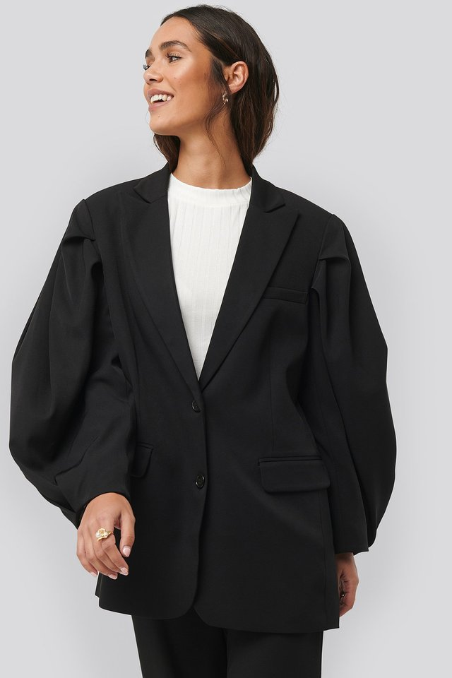 Balloon Sleeve Blazer Black