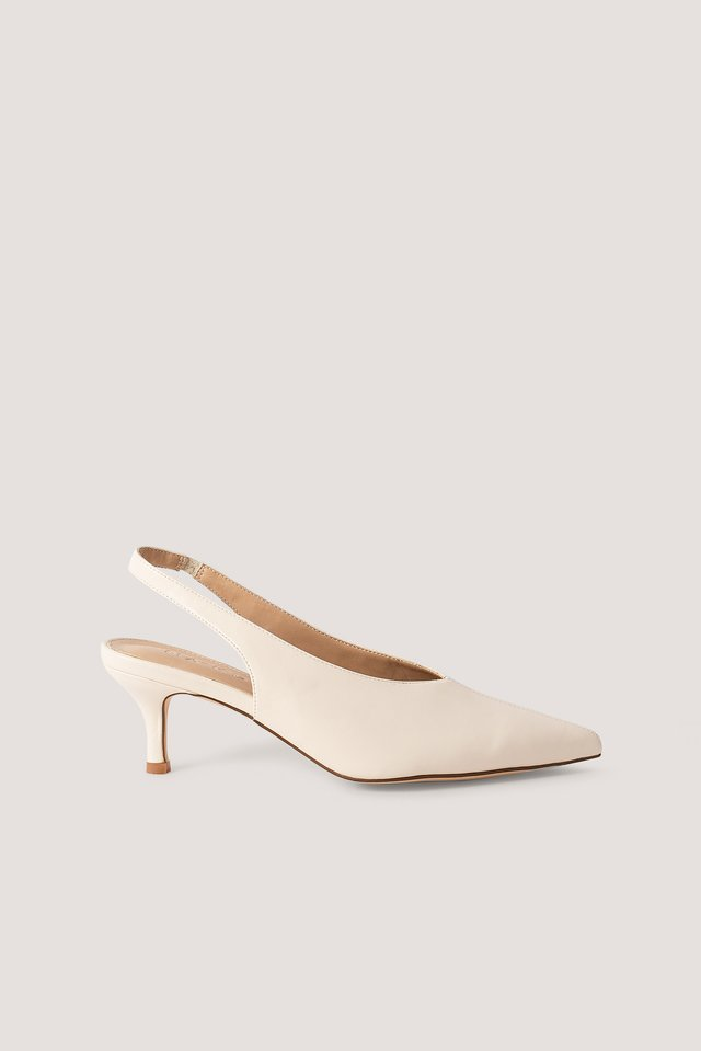 Offwhite Basic Slingback Pumps