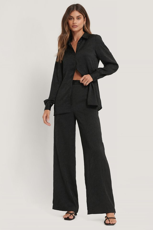 Crinkled Suit Pants Black