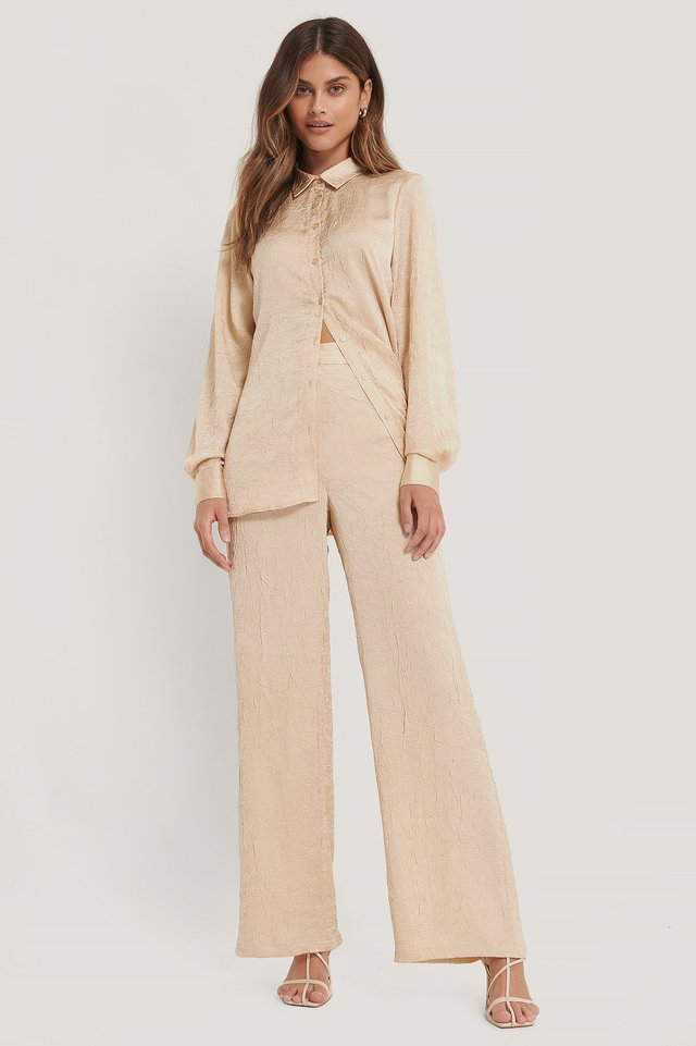Crinkled Suit Pants Beige