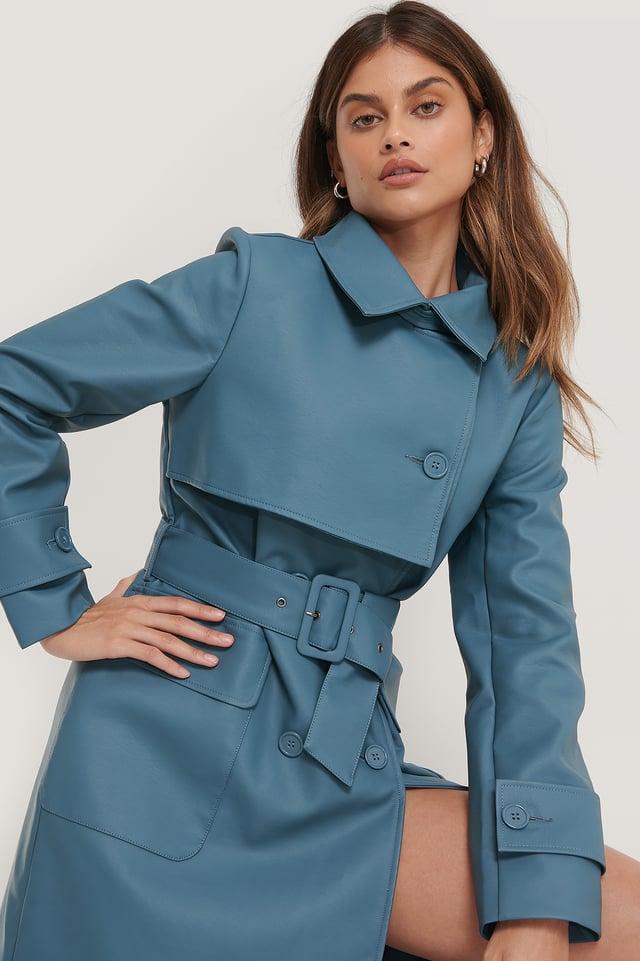 Long PU Trench Coat Blue