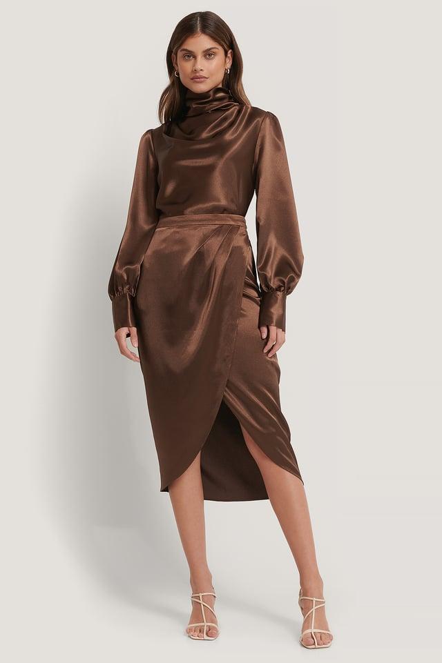Overlap Satin Skirt Brown