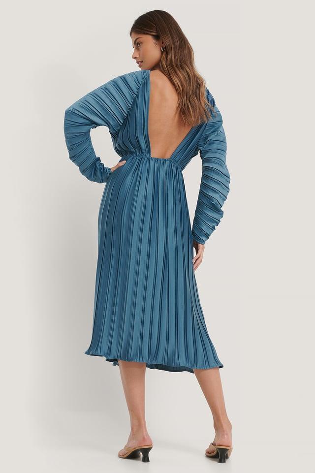 Pleated Deep Back Dress Blue