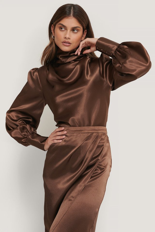 Satin Draped Blouse Brown