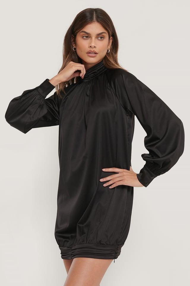 Satin Long Sleeve Mini Dress Black