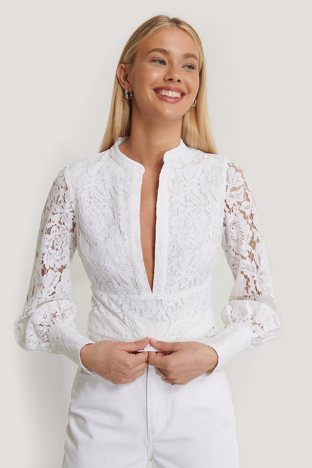 Deep Front Lace Top White