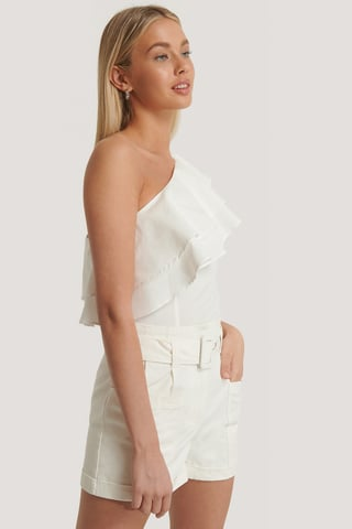 White One Shoulder Flounce Top