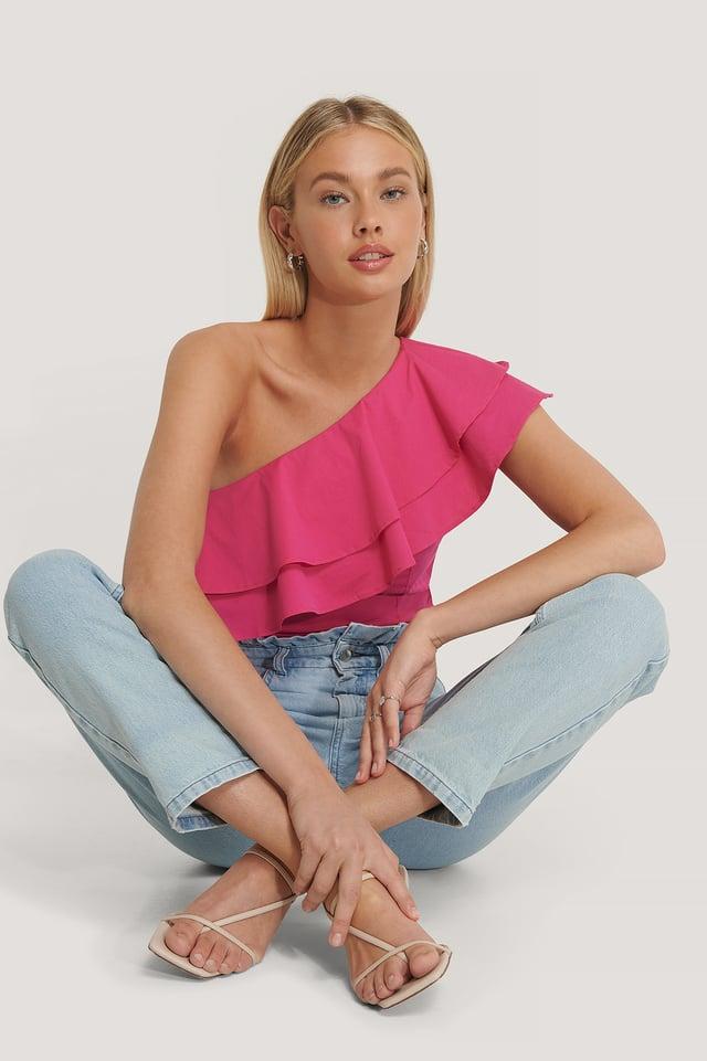 One Shoulder Flounce Top Pink