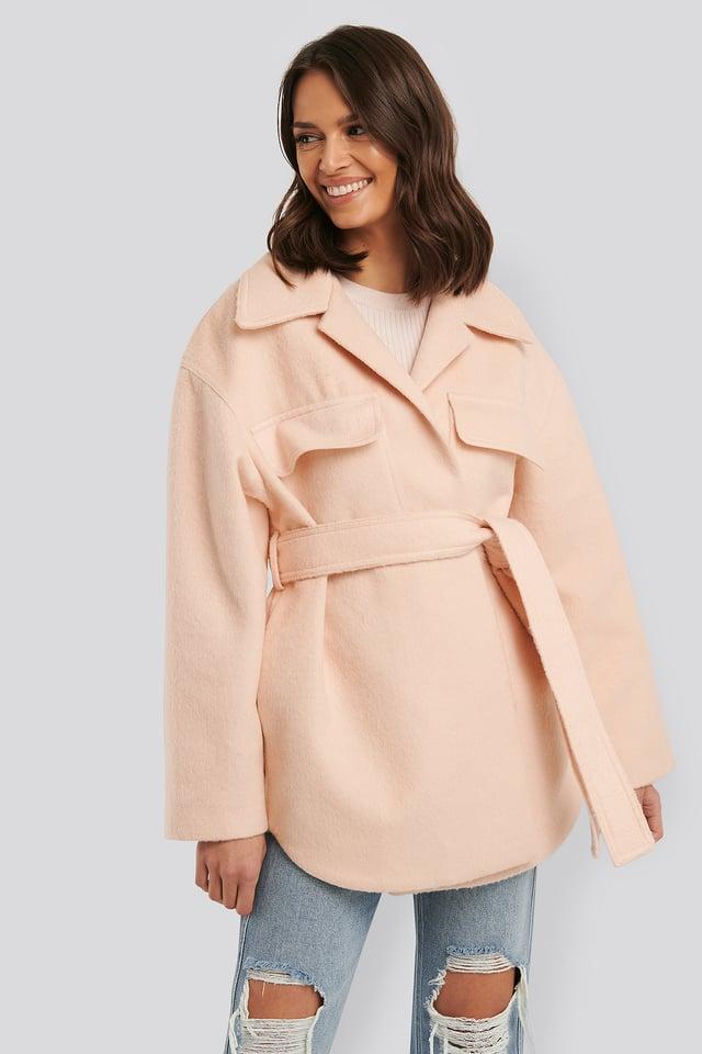 Short Belted Coat Cream