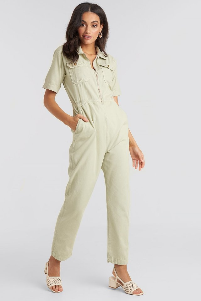 Zip Jumpsuit Green Water