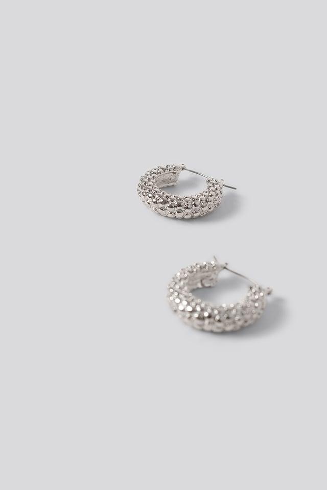 Bubble Hoop Earrings Silver