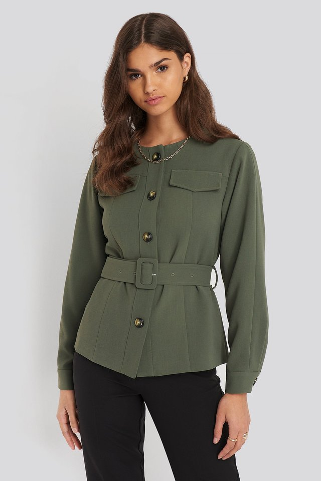 Buckle Belted Jacket Khaki