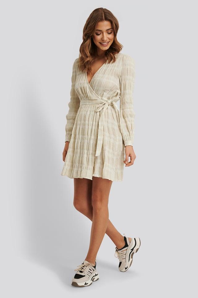 Linen Overlap Dress Beige/White