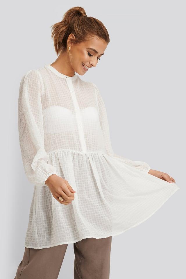 Ruffle Bow Dress Off White