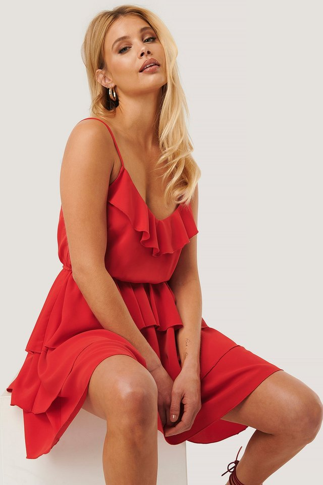 Thin Strap Frill Dress Red