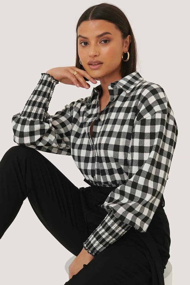 Black/White Checked Long Sleeve Blouse