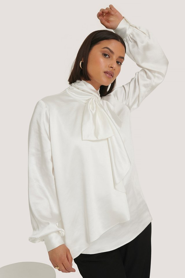 Scarf Neck Front Tie Blouse White