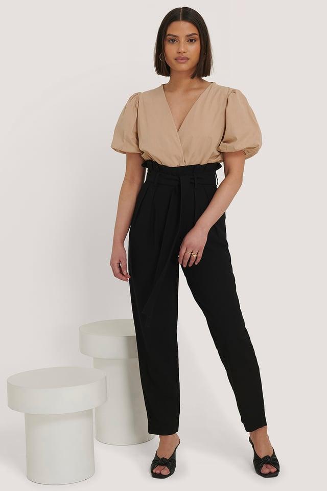 Pantalones Con Cordón En La Cintura Black