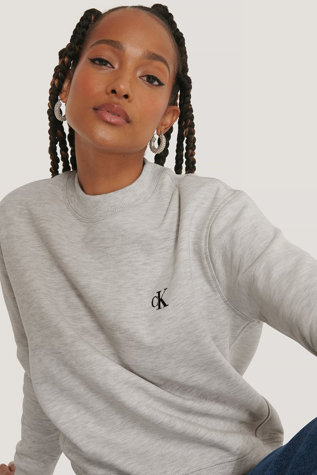 Embroidery Regular Crew Neck Sweater White Grey Heather