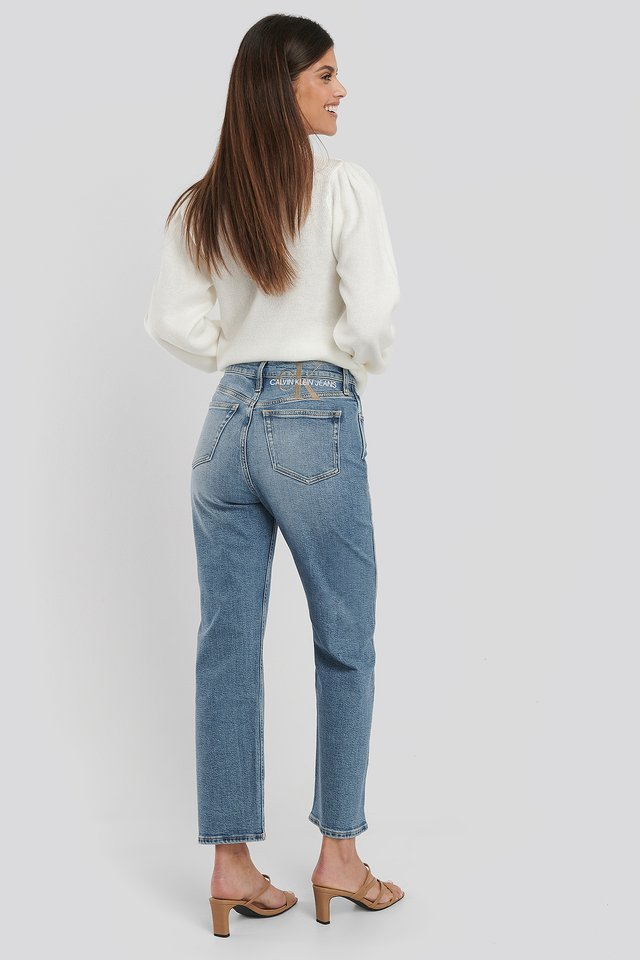Mid Blue 030 High Rise Straight Ankle Jeans
