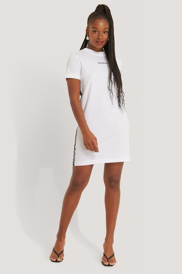 Side Tape T-Shirt Dress Bright White