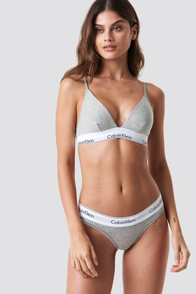 Grey Heather Thong Modern Cotton