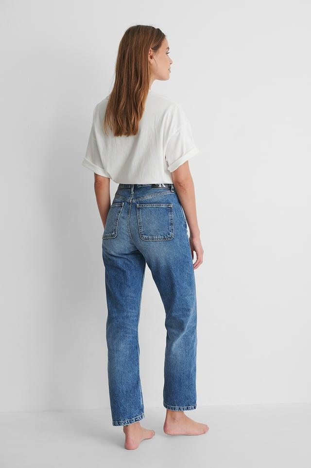 Rette Jeans Med Høyt Liv Light Blue