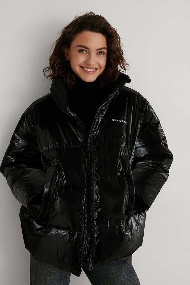 CK Black High Shine Puffer