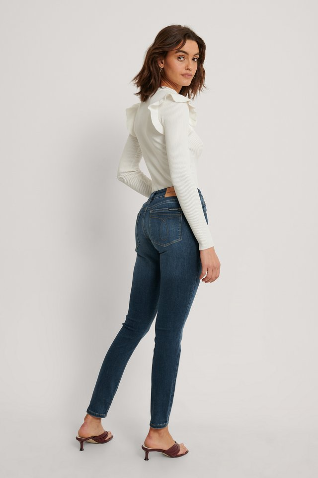 Mid Blue Mid-Rise-Jeans