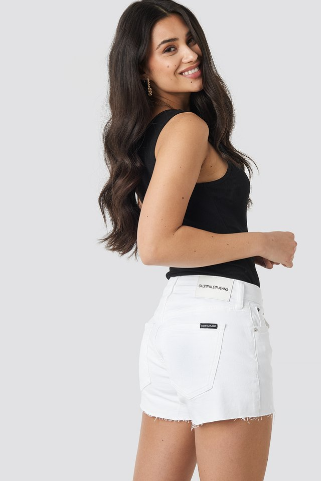Pop White Mid Rise Weekend Shorts