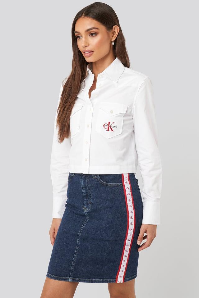 Blue/White/Red Mono Stripe Pencil Skirt