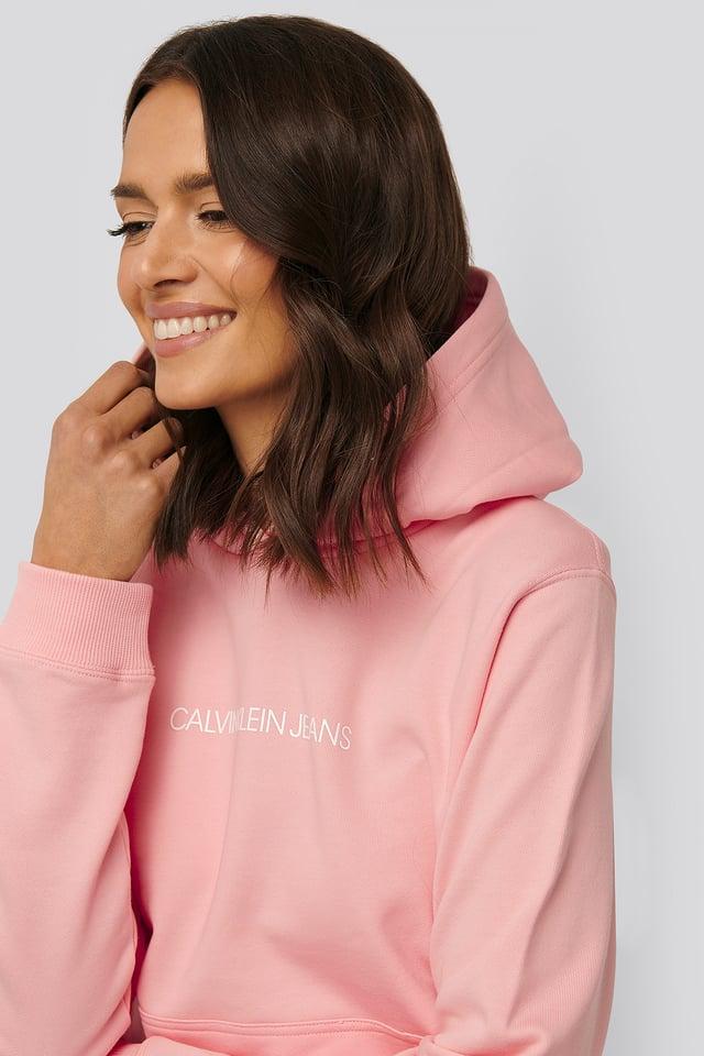 Shrunken Institutional Hoodie Light Pink