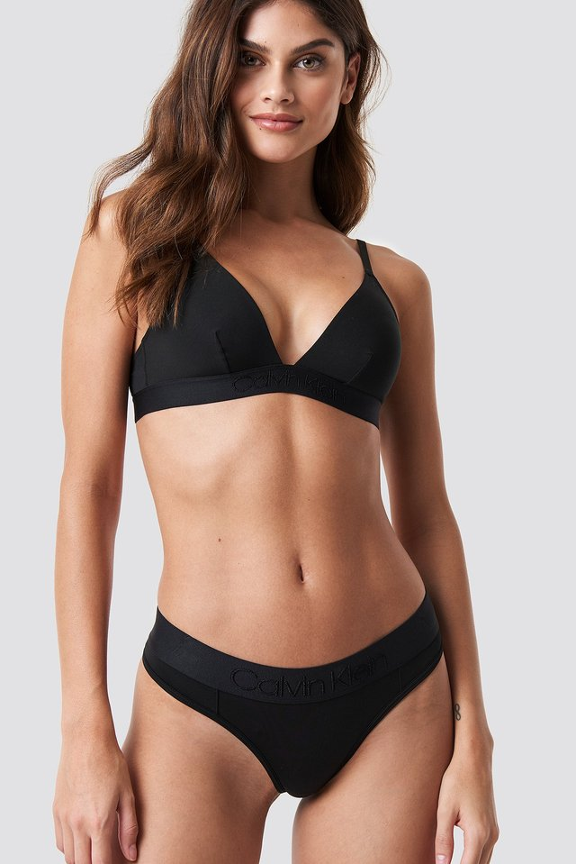 Tonal Logo Thong Black