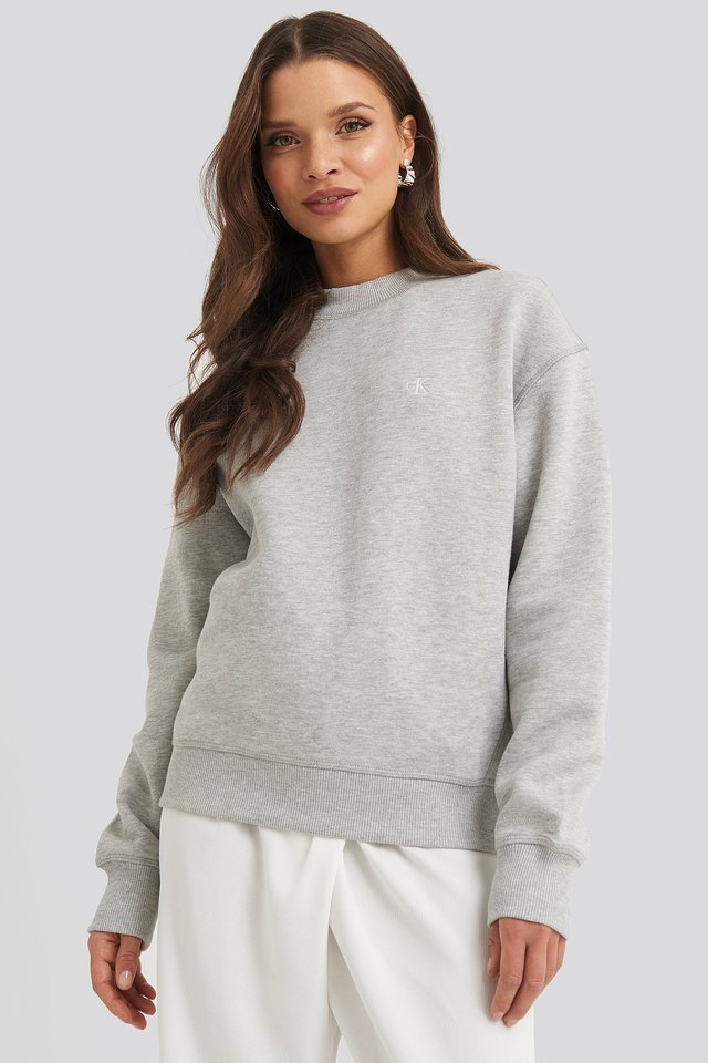 Embroidery Regular Crew Neck Sweater Light Grey Heather