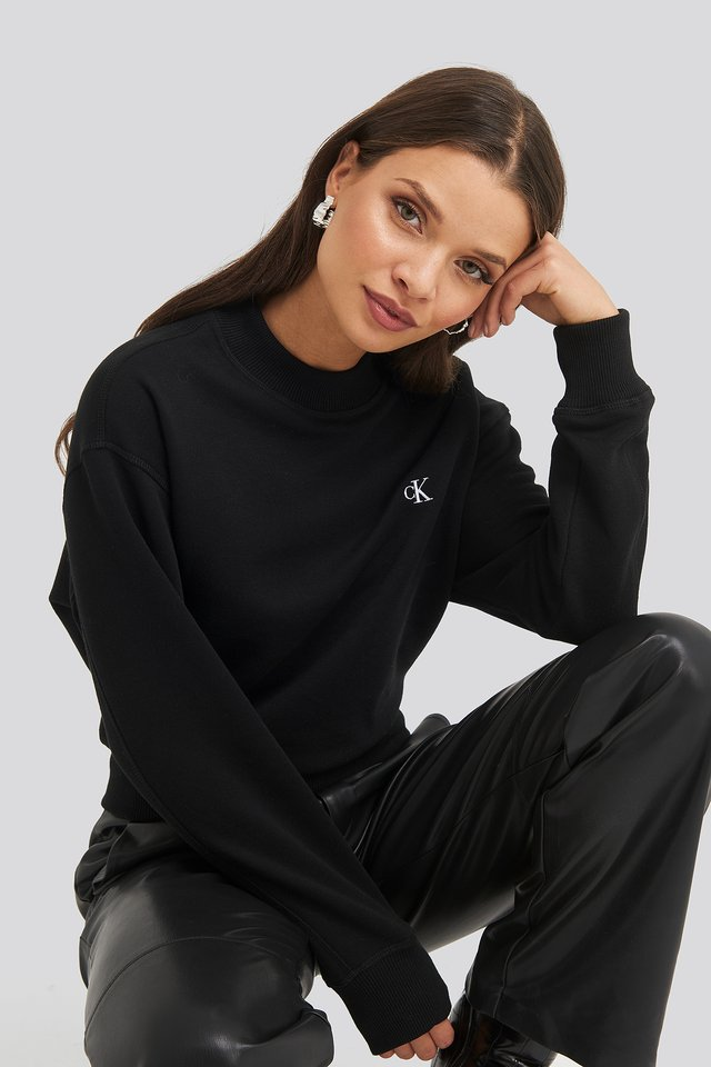 Embroidery Regular Crew Neck Sweater CK Black