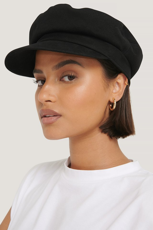 Black Embroidery Logo Baker Hat