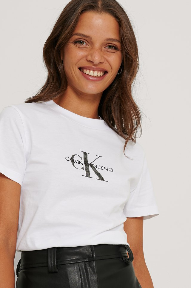 Glitter Monogram Tee Bright White
