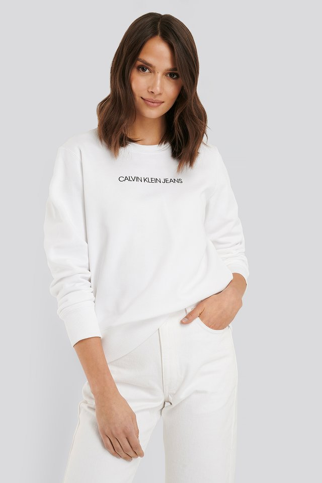 Institutional Regular Crew Neck Sweater Bright White