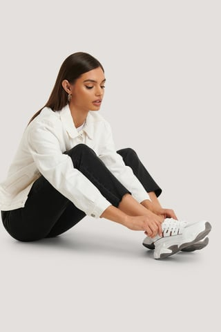 White Cut Out Chunky Trainers